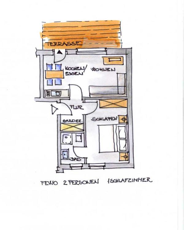 Der Grundriss unserer 2er Ferienwohnung mit Terrasse