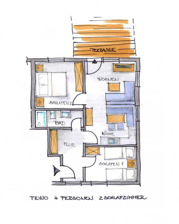 Der Grundriss unserer 4er Ferienwohnung mit Terrasse