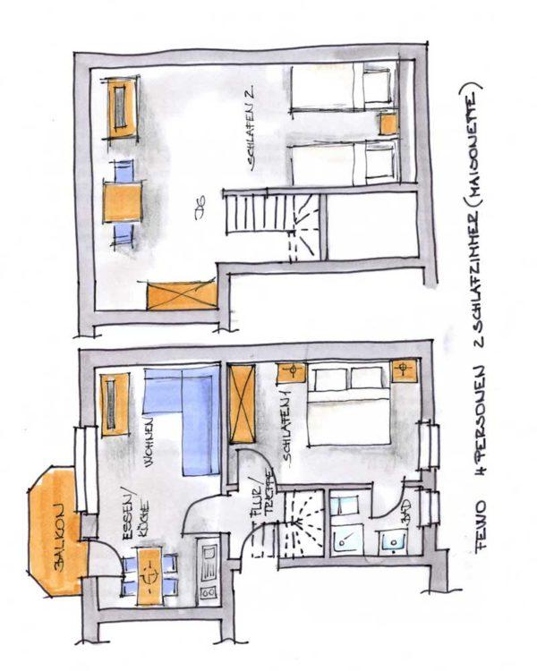 Der Grundriss unserer 4er Maisonette Ferienwohnung vom AKZENT Hotel Kaliebe auf Usedom (Trassenheide)