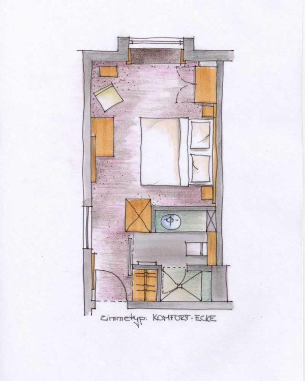 Grundriss Doppelzimmer Komfort Ecke