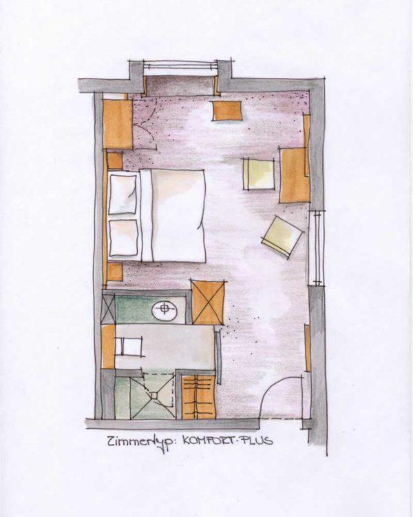 Grundriss Doppelzimmer Komfort Plus